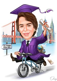 """The boy is graduating Summa Cum Laude from Cypress Lake School for the Arts HS. He has been accepted at The Cooper Union (NYC Fine Arts). I'd like a graduate caricature of him on a bike holding diploma signifying CPLHS Summa Cum Laude with NYC type skyline in background, with a sign saying """"The Cooper Union NYC""""."""