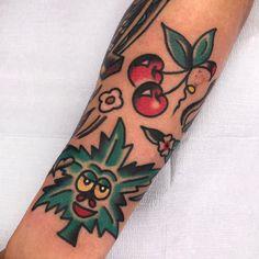 The most beautiful cherry tattoos - Topstoryfeed Food Tattoos, Baby Tattoos, Leg Tattoos, Weed Tattoo, Tattoo You, Traditional Tattoo Cuff, Traditional Sleeve, Trendy Tattoos, Small Tattoos