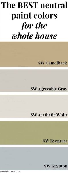 The best neutral paint colors for the whole house, perfect if you love a costal design style or natural design style. The best tan, gray, white, green and blue paint colors for any room in the house plus pictures of the paint colors in real spaces and rooms!