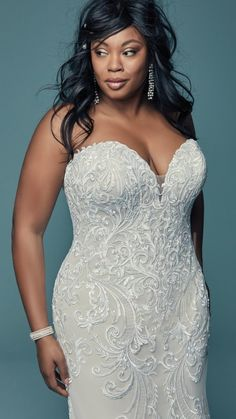 Maggie Sottero - LUANNE, Lovely lace motifs swirl over tulle in this relaxed fit-and-flare wedding dress, featuring a strapless sweetheart neckline with subtle illusion detail Plus Size Brides, Plus Size Wedding Gowns, Plus Size Gowns, Dresser, Maggie Sottero Wedding Dresses, Curvy Bride, Fit And Flare Wedding Dress, Designer Wedding Dresses, Designer Gowns