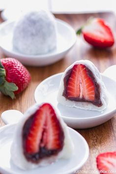 """Strawberry Daifuku or Strawberry Mochi is a delicious little one bite dessert, perfect for parties and festive occasions. """"The combination of fresh soft mochi, sweet anko, and juicy and tart strawberry is a match made in heaven."""" 