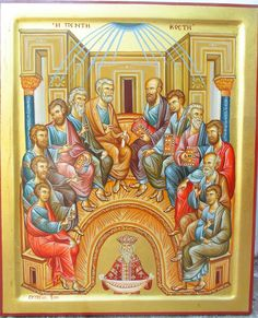 Pentecost by Dimitrios Skourtelis Famous Freemasons, Christian Mysticism, Christian Artwork, Church Interior, Byzantine Icons, Last Supper, Religious Icons, I Icon, Orthodox Icons