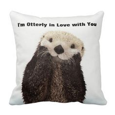 Happy Valentines Day Funny Otter Pillows