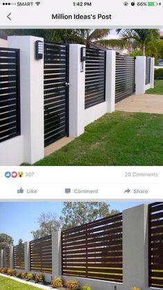 House Fence Design, Modern Fence Design, Backyard Patio Designs, House Entrance, Dream Home Design, House Front, Exterior Design, Architecture, Ideas
