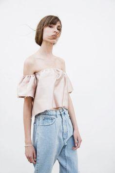 off the shoulder blouse and denim