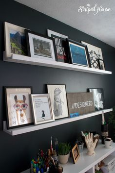 My mini office makeover with my DIY floating gallery shelves.