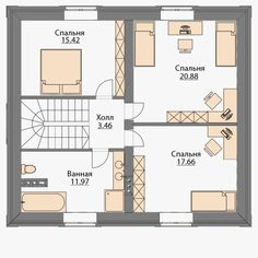Готовый проект дома с мансардой площадью 143м2 в Комсомольске-на-Амуре Style At Home, House Layouts, House Plans, Floor Plans, How To Plan, House Styles, Projects, Cottage Style Houses, House Construction Plan