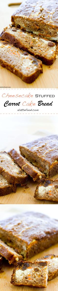 Cheesecake is swirled in with this amazing carrot cake bread that's packed with raisins, pineapple, and carrots!