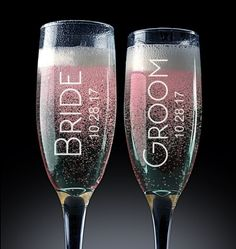 Wedding Gifts Set of Personalized champagne glasses. Wedding toasting flutes are a wonderful gift idea for the bride and groom. - Set of Personalized champagne glasses. Wedding toasting flutes are a wonderful gift idea for the bride and groom. Top Wedding Trends, Wedding Tips, Wedding Planning, Wedding Day, Wedding Favors, Wedding Decorations, Dream Wedding, Wedding Stuff, Wedding Binder