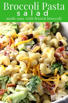 Easy Broccoli Pasta Salad | by Renee's Kitchen Adventures - Broccoli salad and pasta salad combine in this easy recipe to create a whole new side dish perfect to bring to a summer potluck or BBQ and serve alongside burgers! #ad #GrillNGear #broccolisalad #broccoli #summersalad