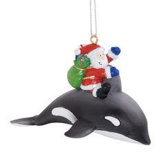 Santa Claus Riding Orca Whale Delivering Gifts Christmas Holiday Ornament