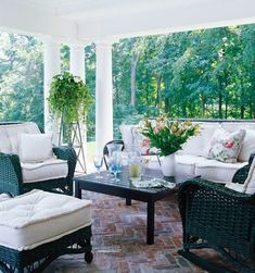 Lovely and Livable Connecticut Home - Traditional Home Love this porch!