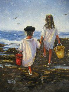 Children at Beach Art Print beach paintings by VickieWadeFineArt
