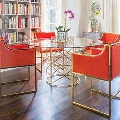 """Gold leaf x motif dining table base with 48"""" glass top or 54"""" glass top."""