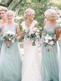 Long Tulle Mint Green Bridesmaid Dresses Modest Mother of Bride Dress Plus Size, Mint Green Bridesmaid Dresses, Blue Bridesmaids, Bridesmaid Colours, Tulle Bridesmaid Dress, Aesthetic Header, Dresser, Modest Dresses, Long Dresses, Wedding Party Dresses