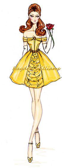 The Disney Divas collection by Hayden Williams: Belle #Illustration #Artistic