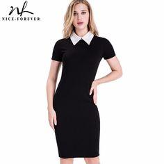 Nice-forever Career Women Autumn Turn-down Collar Fit Work Dress Vintage Elegant Business office Pencil bodycon Midi Dress 751