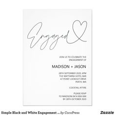 Shop Simple Black and White Engagement Party Invitation created by CocoPress. Personalize it with photos & text or purchase as is! Disney Invitations, Sweet 16 Invitations, Engagement Party Invitations, Save The Date Invitations, Elegant Invitations, Bridal Shower Invitations, Custom Invitations, Invitation Ideas, Engagement Photos