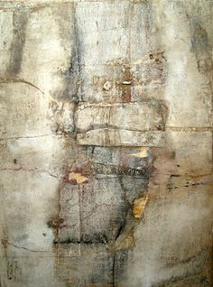 """HEADING FOR SATURDAY"" Artist:Jeane Myers oil, collage, muslin and wax on panel 24""H x 18""W"