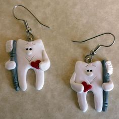 Valentines Day Tooth With Brush and Heart Earrings by Freeheart1, $15.00 Polymer Clay Art, Polymer Clay Jewelry, Dental Pictures, Dental Jewelry, Biscuit, Dental World, Jean Crafts, Unusual Jewelry, Dental Assistant