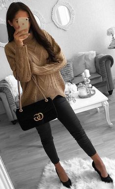 #winter #outfits brown knit sweater and black leggings