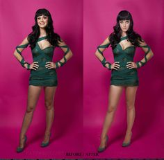 Katy Perry: actual photo on left, the doctored image that ran on the right. After you've seen both, those legs don't even look REAL. #KatyPerry #Feminism #Media