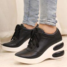 包邮S-girl2013新款欧美真皮休闲厚底坡跟单鞋女式高跟系带女鞋-淘宝网