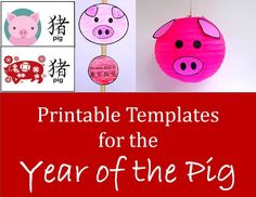Chinese New Year 2019 Year of the Pig crafts. This article contains over 20 easy, printable templates for pig crafts for Chinese New Year celebrations. Busy parents, librarians, and teachers can print these decorations for kids to use in crafts. Chines New Year, Chinese New Year Crafts For Kids, Chinese New Year Dragon, Chinese New Year Activities, Chinese New Year Party, Chinese New Year Decorations, Chinese Crafts, New Years Activities, Art Activities