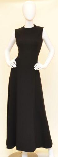 Pauline-Trigere-Vintage-1970s-Black-Structured-Wool-ALine-Open-Back-Dress-Gown