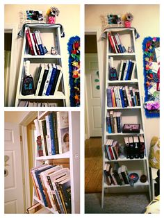 Bookshelf made from a wooden ladder. Turned out cute!