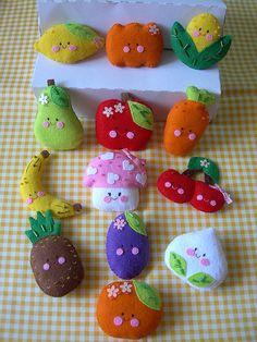 Felt fruits and vegetables, Kawaii.