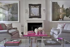 Total sophistication. Love the touch of shocking pink. Cullman & Kravis: Upper Eastside Townhouse