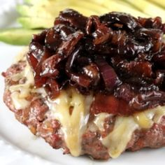Bacon burgers topped with Gruyere (not for whole 30 version) cheese and bacon onion balsamic jam