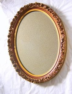 vintage 1950s oval mirror ornate wood frame goldtone 15 x 19