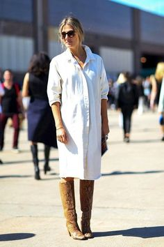 How to Transition Your Shirtdress Into Fall via @WhoWhatWear