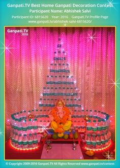 Abhishek Salvi Home Ganpati Picture 2016. View more pictures and videos of Ganpati Decoration at www.ganpati.tv