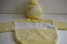 Knit Baby Sweater and Hat Set in Yellow and by fashionablekids, $55.00