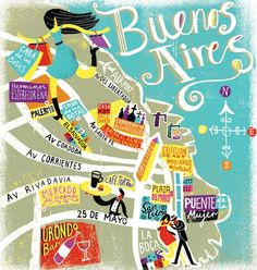 OVERVIEW: Migy: Buenos Aires Map for the National Geographic. If you compare this map to the night view of Buenos Aires from satellite (in another pin) you can see the main avenues are exactly like this. Travel Maps, Places To Travel, Travel Photos, Argentine Buenos Aires, Tourist Map, Argentina Travel, Argentina Map, Travel Illustration, Flat Illustration