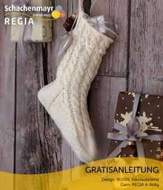 Es ist eindeutig: Strümpfe haben dem guten alten Stiefel in puncto Beliebtheit den Rang abgelaufen. Zumindest in der Frage, was man denn am Nikolausabend vor die Tür stellt beziehungsweise legt. Genügend Raum für Apfel, Nuss und Mandelkern bietet dieses Exemplar aus #Regia 4-fädig mit seinem dekorativen Zopfmuster. Er eignet sich auch als Wohnaccessoire in der Vorweihnachtszeit. Einfach bezaubernd!