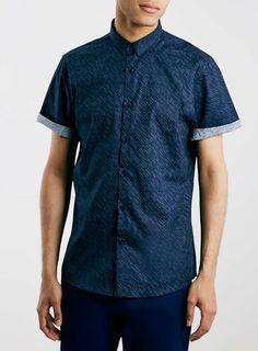 Navy Dot Print Short Sleeve Smart Shirt