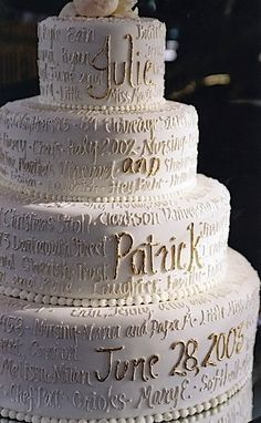 What an incredible idea, words of love and details of the couple's love story literally written on the cake - love this!!!