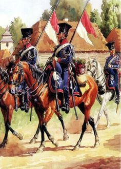 Cavalry Regiment of Chevaulegers Imperial Guard Lancers in field uniforms… Empire, Military Art, Military History, French Pictures, Battle Of Waterloo, French Army, Army & Navy, Napoleonic Wars, Modern Warfare