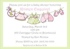 Clothesline Girl Baby Shower Invitations in pink and green.