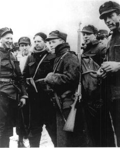 Norwegian soldiers pose for a photograph after successfully resisting a German assault; although their celebration in victory over the battle would be short-lived. Germany would fully occupy Norway just over a week later. Kongsvinger, Hedmark, Norway. 28 April 1940.