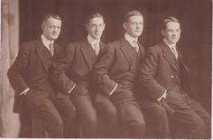 These four Very good looking men are my ancestors. No one wrote names on the photo, so I don't know who they are.