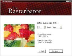 Erleichtert den Ausdruck von Riesenpostern auf herkömmlichen Druckern, indem es die Bilder so für DIN-A4-Papier aufteilt, dass sich die Seiten einfach zusammensetzen lassen; erzeugt PDFs, die sich mit dem Adobe Acrobat Reader oder einem anderen Viewer ausgeben lassen.