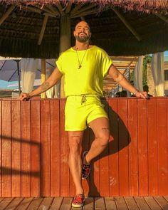 Men Solid Short Sleeves Two-Piece Suits – Uniq-cloth Indian Men Fashion, Queer Fashion, Best Mens Fashion, Men's Fashion, Neon Outfits, Summer Outfits, Dance Outfits, Romper Men, Mens Crop Top