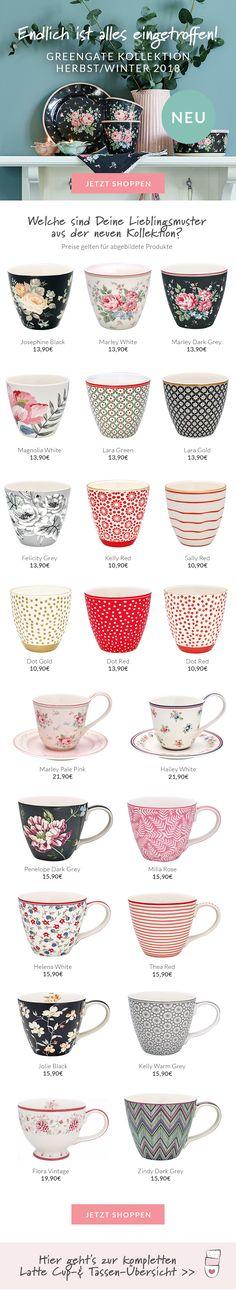 Greengate spot grey latte cup Becher Tasse kleines Schwedenhaus Geschirr Punkte