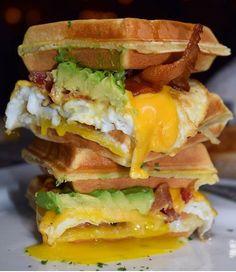 waffle breakfast sandwich  bacon, egg, cheese, + avocado