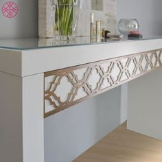 Khloe O'verlays on IKEA Malm dressing table. However this works as a great desk for a small apartment too. The catch... There isn't one, O'verlays only $29.95 #myoverlays #fretwork #DIY #decor #pattern #design #vanity #desk #dressingtable #ikea #ikeahack #gold #white #bedroom #office #malm